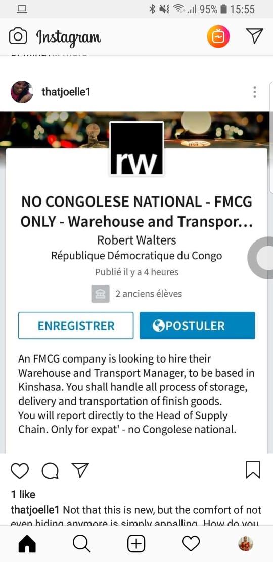 Le cabinet Robert Walters diffuse une offre d'emploi réservée aux non congolais!